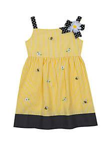 Rare Editions Baby Girls Yellow Bee Seersucker Dress