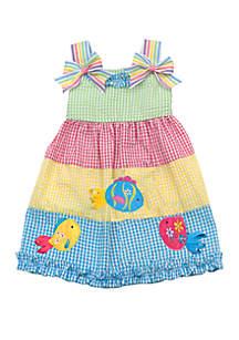 Rare Editions Baby Girls Color Block Fish Seersucker Dress