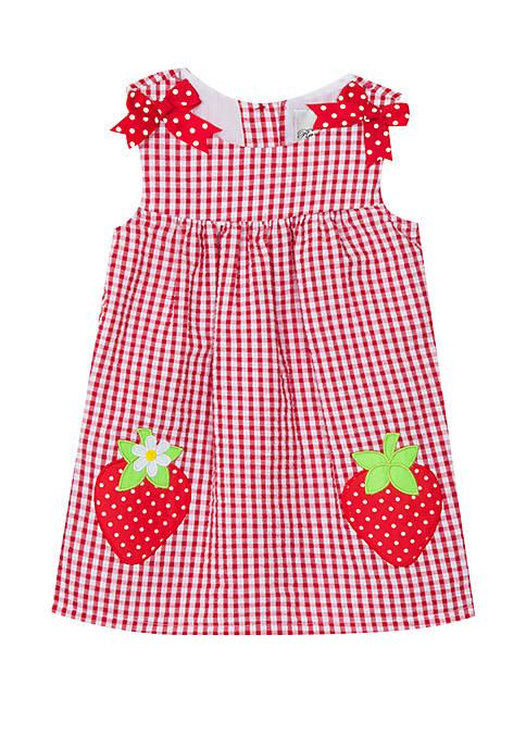 Rare Editions Baby Girls Red Strawberry Seersucker Dress
