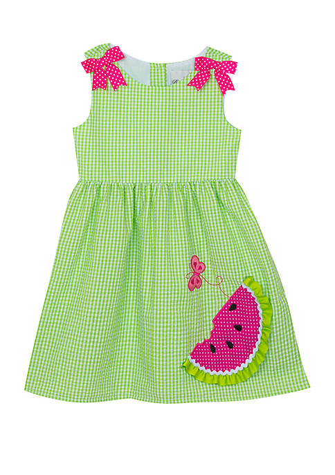 Rare Editions Baby Girls Lime Watermelon Seersucker Dress