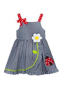 Rare Editions Baby Girls Navy Ladybug Applique Seersucker Dress