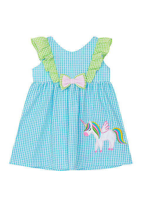 Baby Girls Turquoise Unicorn Applique Seersucker Dress