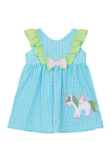 1abc6a012692 ... Rare Editions Baby Girls Turquoise Unicorn Applique Seersucker Dress