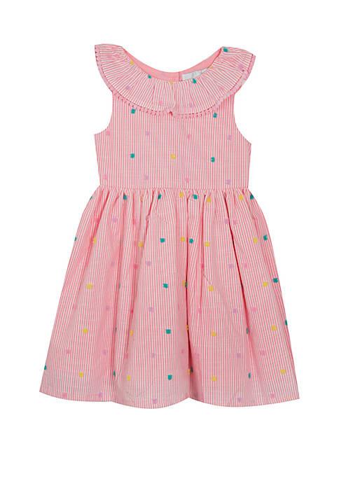 Rare Editions Baby Girls Pink Ivory Pinstripe Swiss