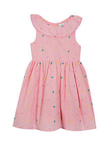 Rare Editions Baby Girls Pink Ivory Pinstripe Swiss Dot Dress