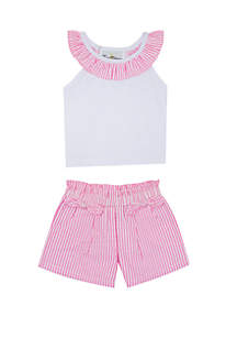 Rare Editions Baby Girls Seersucker Top and Shorts Set
