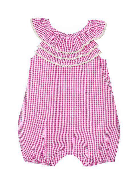 Rare Editions Baby Girls Fuchsia Seersucker Bubble Romper