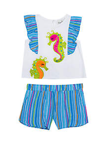 d23312539c6d ... Rare Editions Baby Girls 2 Piece Seahorse Short Set