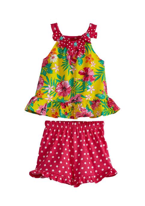Baby Girls Floral Polka Dot Knit Set