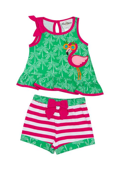 Rare Editions Baby Girls Flamingo Sleeveless Top and