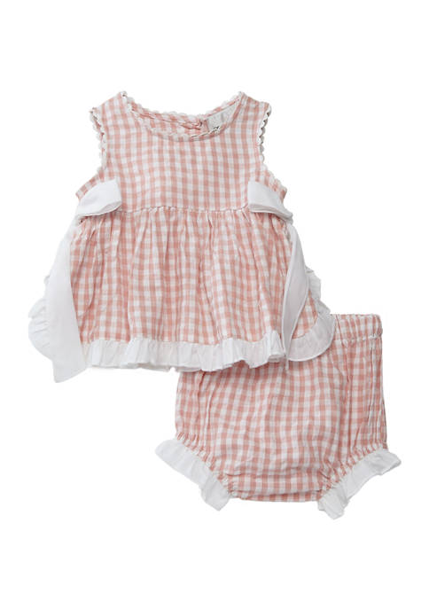 Baby Girls Check Woven Top and Shorts Set