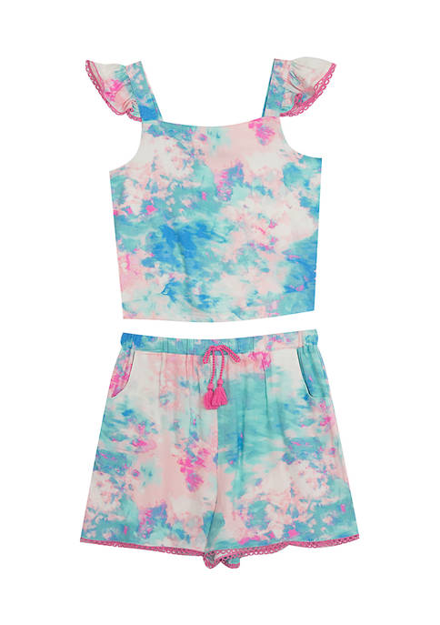 Baby Girls Tie Dye Flutter Sleeve with Shorts Set