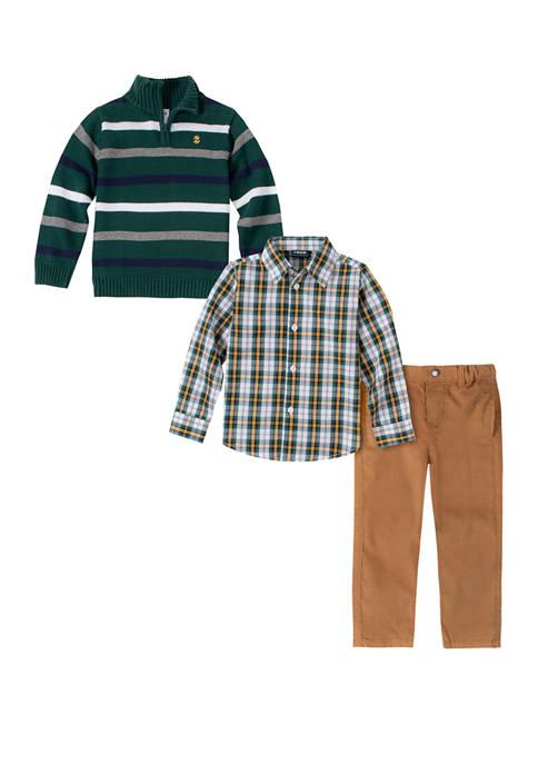 IZOD Toddler Boys Allover Stripe 1/4 Zip Sweater