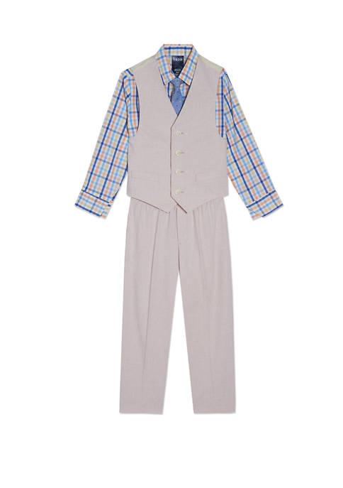 Boys 4-7 Micro Houndstooth Vest Set
