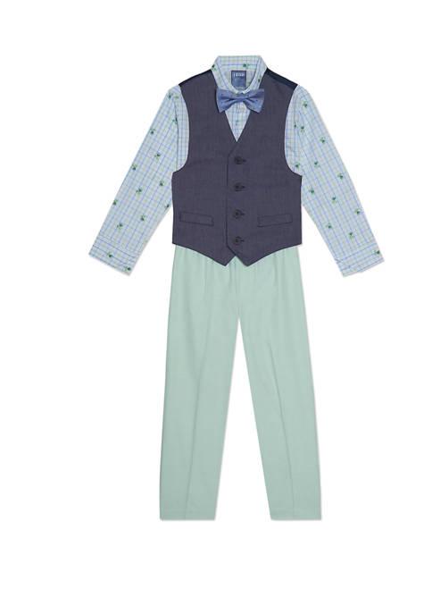 Toddler Boys Contrast Oxford Vest Set