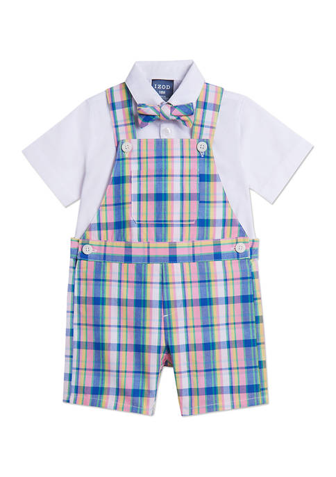 IZOD Baby Boys 3-Piece Madra Plaid Shortall Set