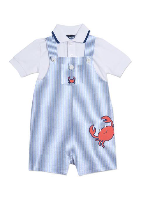 IZOD Baby Boys 2 Piece Seersucker Crab Shortall