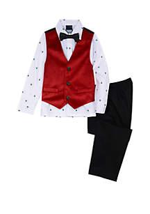 Toddler Boys Red Velvet Vest Set