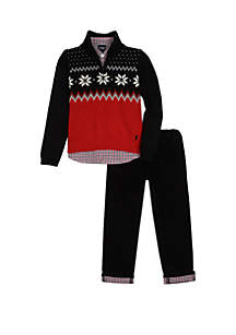 Toddler Boys Fairisle Sweater Roll Corduroy Set