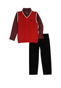 Toddler Boys Red Sweater Vest Corduroy Pants Set