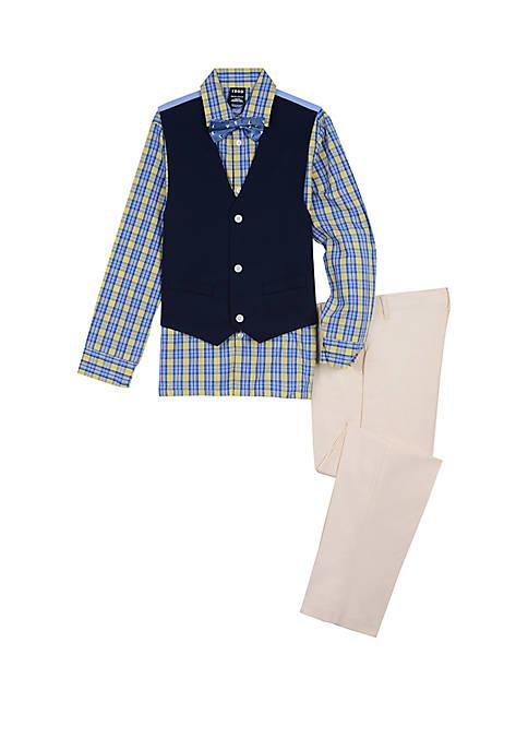 IZOD Toddler Boys 4 Piece Woven Pique Vest