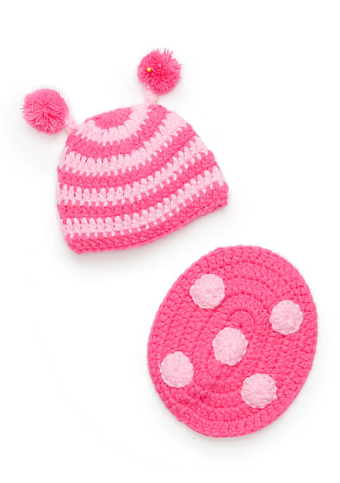 2-Piece Knit Ladybug Hat and Bum Cover Set