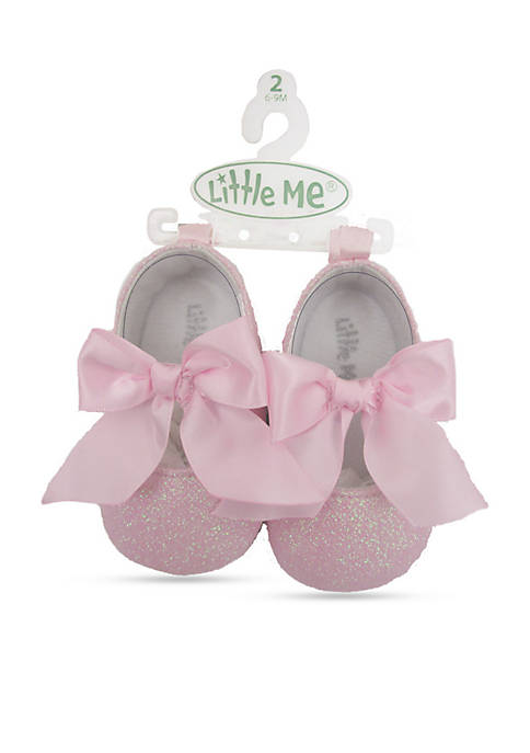 Little Me Satin Bow Mary Jane Flats