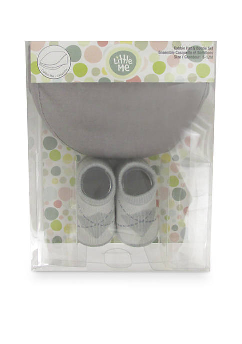Little Me 2-Piece Cabbie Hat and Booties Boxed
