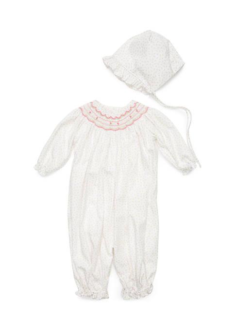 Baby Girls Rosebud Gown and Bonnet Set