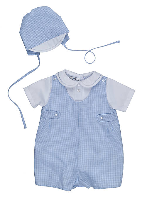 Gingham Romper With Hat