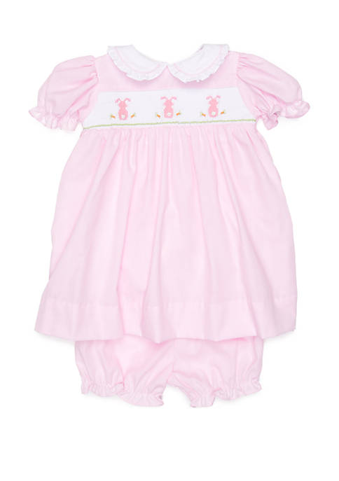 Baby Girls Pink Bunny Smocking Dress