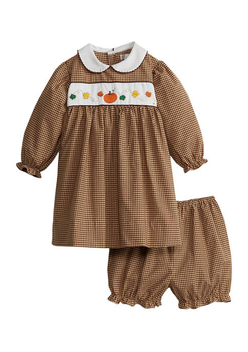 Baby Girls Dress & Bloomer with Leaf Embroidery