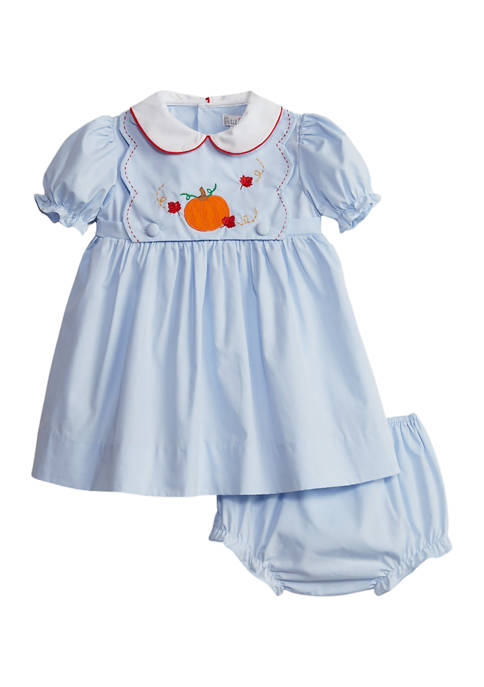 Baby Girls Dress & Bloomer with Apple Appliqué and Pumpkin Bib Set