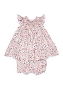 Petit Ami Baby Girls Floral Smocking Dress