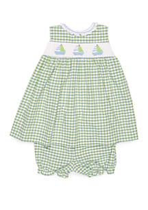 Petit Ami Baby Girls Green Gingham Sailboat Smocking Dress
