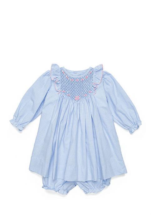Baby Girls Checkered Smocked Dress Set
