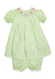 Petit Ami Baby Girls Birthday Smock Dress and Bloomer Set
