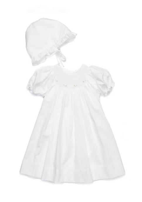 Petit Ami 2-Piece Flower Embroidered Hat and Gown