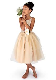 Flower Girl Satin And Tulle Ballerina Dress With Flower - Toddler Girls
