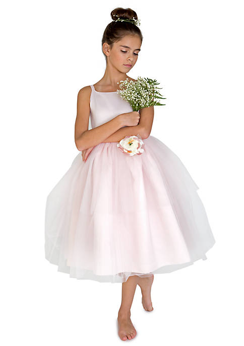 7fa1c38caf Flower Girl Satin And Tulle Ballerina Dress With Flower - Toddler Girls