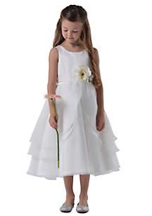 Flower Girl Satin And Tulle Layer Organza Tank Dress- Toddler Girls