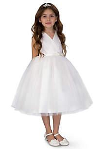 Flower Girl Satin And Point D'Esprit Ballerina Length Dress With Sleeveless Pleated Bodice And Full Skirt- Toddler Girls