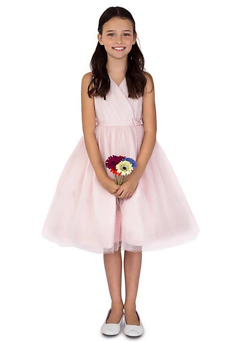 Flower Girl Satin And Point DEsprit Ballerina Length Dress With Sleeveless Pleated Bodice And Full Skirt- Toddler Girls