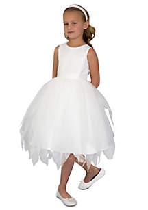 Flower Girl Ballerina Length Dot Netting Sleeveless Tiered Dress With Hanky Hem And Full Skirt- Toddler Girls