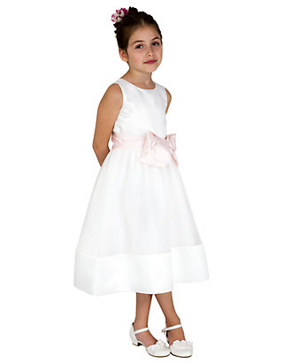 d1cd9302b2 Us Angels. Us Angels Flower Girl Satin And Organza Sleeveless Bodice With  Sash And Hem Full Skirt- Toddler Girls