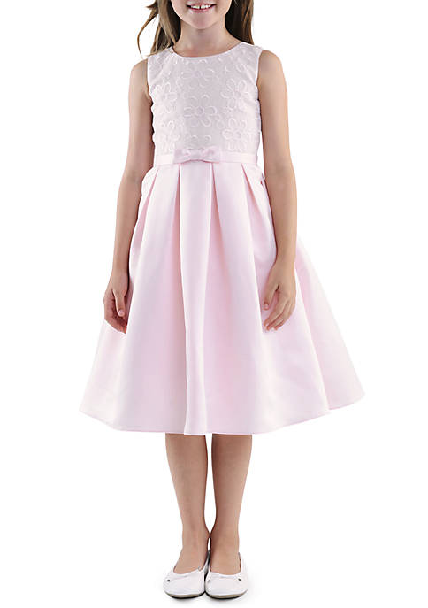 Us Angels Sleeveless Embroidered Organza Bodice & Satin