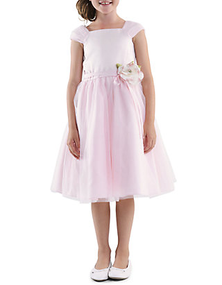 a30b0c00ec Us Angels. Us Angels Shirred Sleeve Princess Satin Bodice with Tulle  Overlay Skirt Flower Girl Dress Toddler Girls