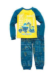 adb3c7974cfd J. Khaki® Construction Truck Glow in the Dark 2-Piece Pajama Set ...