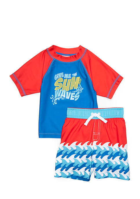 Lightning Bug 2-Piece Rashguard and Swim Trunk Set