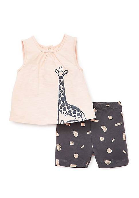 Focus Kids Baby Girls Safari Top and Shorts